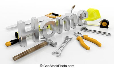 Various hand tools with 3D word Home, isolated on white background.