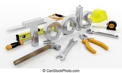 Various hand tools with 3D word Tools, isolated on white background.