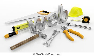 Various hand tools with 3D word Web, isolated on white background.