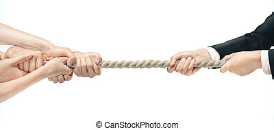Businessman and various hands during tug war on white backgrounds. Business competition concept
