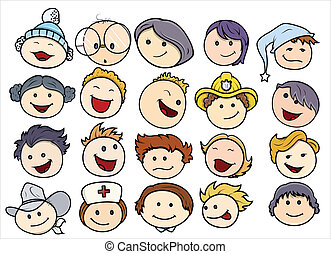 Various Happy and Smiling Kids Face - Drawing Art of Cute...