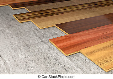 Various Hardwood planks 3D rendering - Different essences of...