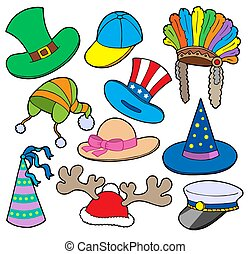Various hats collection 2 - isolated illustration.