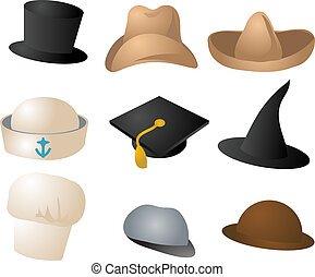 Various hats illustration clipart icons color set