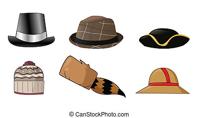 Various hats illustration icons