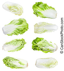 various heads and leaves of Napa cabbages isolated - various...