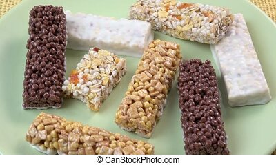 Various healthy granola bars (muesli or cereal bar). Muesli...