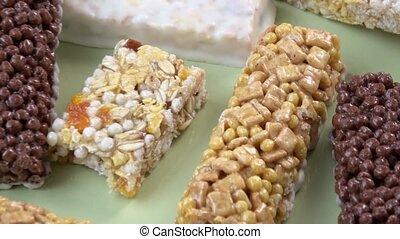 Various healthy granola bars (muesli or cereal bar). Muesli...