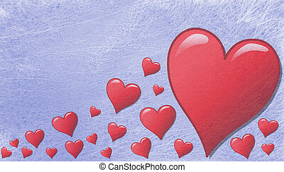 Various hearts in different sizes, greeting card