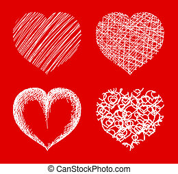 Various hearts on red background