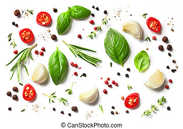 various herbs and spices isolated on white background, top ...