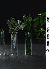 Various herbs in bottle