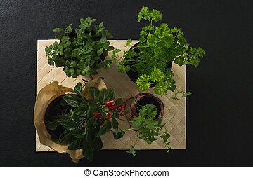 Various herbs in bowl