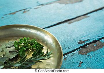 Various herbs in plate