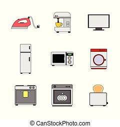 Various Home Appliance Stuffs Illustration Set