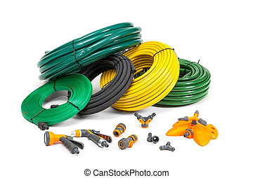 Various hoses and diffusers on an isolated white background.