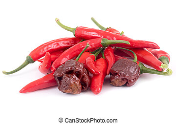 various hot pepper over white background