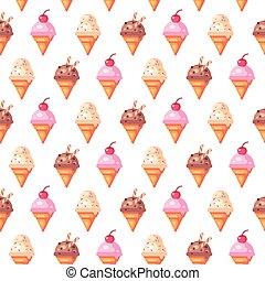 Various ice cream cones seamless pattern