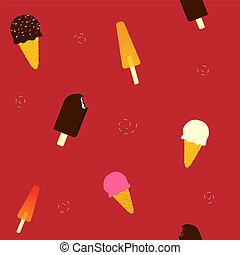 Various Ice Cream Seamless Pattern_stock - A collection of...