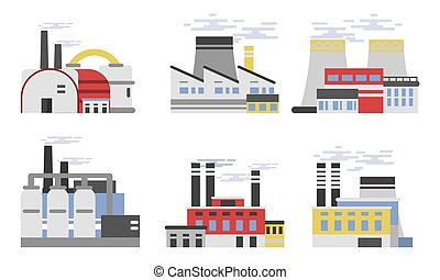 Various Industrial Buildings Of Factories And Plants Vector Illustration Set
