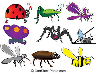 ,hand draw bugs, cute ladybug, funny hopper, spider and fly, easy to edit, funny insect, Larva Character