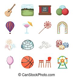 Various interests in a person's life. Pleasure and entertainment set collection icons in cartoon style vector symbol stock isometric illustration web.