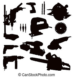 Various Isolated Power Tools - black on white