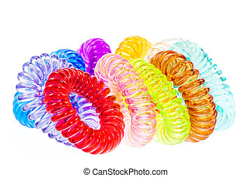 Various isolated spiral hair ties