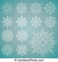 Various isolated winter snowflakes. Vector set