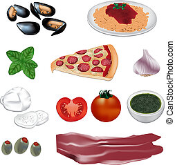 italian food vector illustration - various italian food...