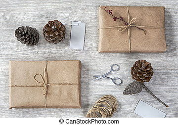 Various items for gift wrapping are on the table.