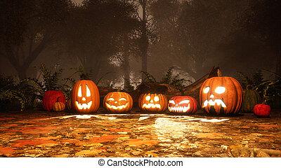 Various Jack-o-lantern pumpkins in misty forest - A few...