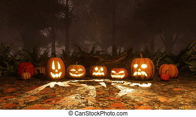 Various Jack-o-lantern pumpkins in night forest - Close up...