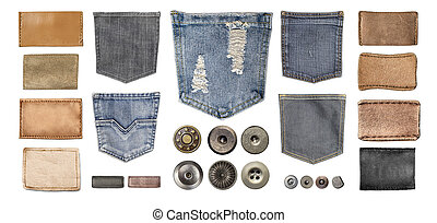 various jeans parts on white