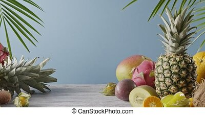 Various juicy exotic fruits - lychee, pineapple and...