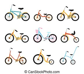 Various kids bikes collection. Colorful bicycles with different frame types. Vector flat illustration set.