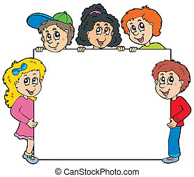 Various kids holding board
