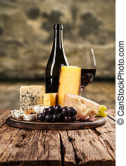 Various kind of cheese with wine - Various kind of cheese ...