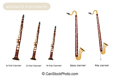 Music Instrument, Various Kind of Brown Vintage Clarinets, B-Flat Clarinet, E-Flat Clarinet, A-Flat Clarinet, Bass Clarinet and Alto Clarinet Isolated on White Background