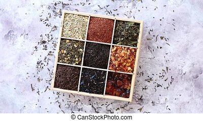Various kind of dry tea in wooden box - Various kind of dry...