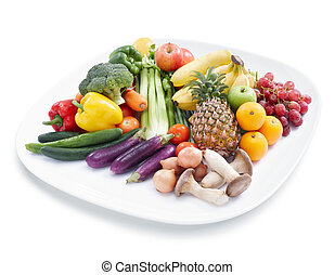 fruits and vegetables - various kind of fruits and ...