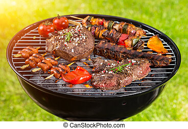 Various kind of meat served on grill