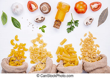 Various kind of Pasta Elbow Macaroni, Farfalle, Rigatoni, ...
