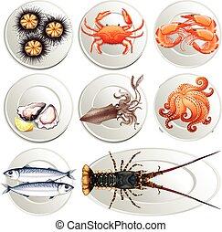 Various kind of seafood on plates