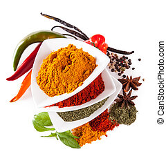 Various kind of spices isolated on white - Studio shot with ...