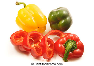 various kind of sweet (bell) pepper isolated on white