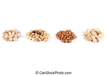 Various kinds of nuts on a white background.