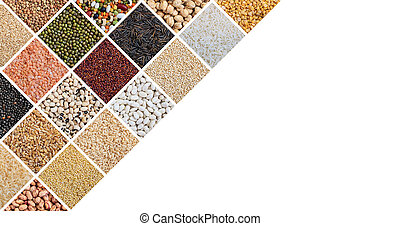Various kinds of raw rice and legumes collage and copy space