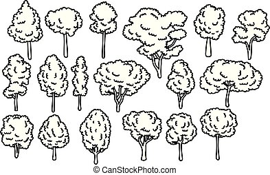 various kinds of tree set vector illustration sketch doodle hand drawn with black lines isolated on white background