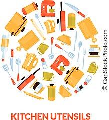 Various Kitchen Utensils in Circular Shape Vector Illustration